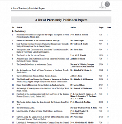 A list of Previously Published Papers